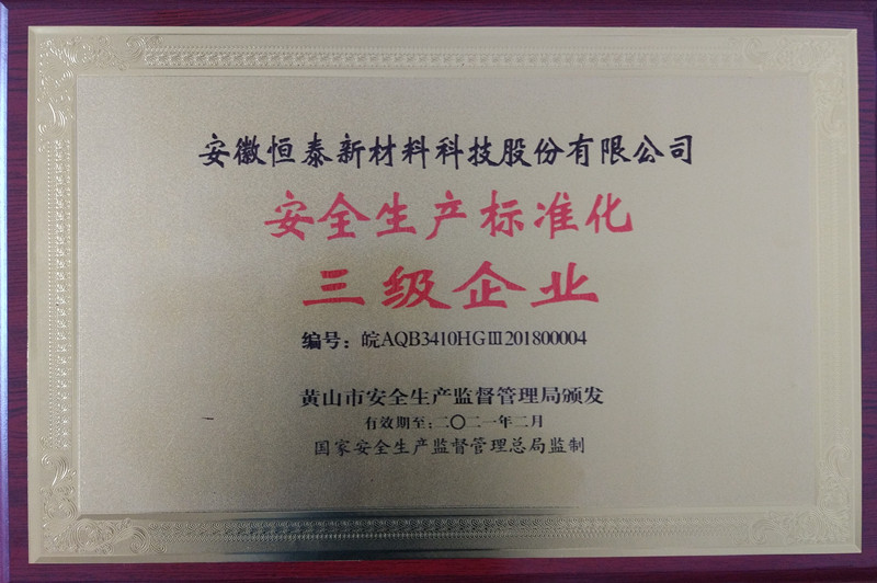 安徽泰新材料科技股份有限公司荣获安全生产标准化三级企业称号